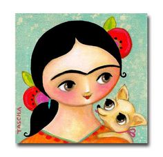 ORIGINAL FRIDA Kahlo with Chihuahua puppy painting cute acrylic painting on canvas by TASCHA