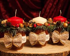 Candle Arrangements, Candle Centerpieces, Christmas Gift For You, Red Christmas, Red Candle Holders, Christmas Table Decorations, White Candles, Products, Beauty Products