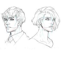 斜め顔 男 女 描き方 描き分け