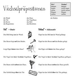 Wechselpräpositionen - pdf worksheet for German changing prepositions, Pippi Langstrumpf