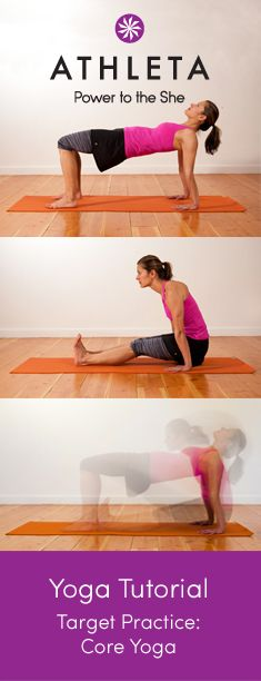 7 great yoga poses / mini-vinyasas to strengthen your core. These aren't the typical upward dog and plank moves, you'll really feel your core fire up with these! Plus, you'll also tone your arms, always a good side effect #core #abs #bonusworkout #arms