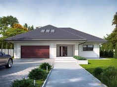 Cottage House Plans, Dream House Plans, Morrocan House, One Storey House, Affordable House Plans, Modern Bungalow House, Driveway Design, Beautiful House Plans, House Viewing