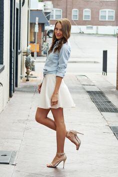 skater skirt + tied chambray top | lenore lamé- this is such a cute outfit  www.adealwithGodbook.com