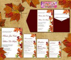 Rustic Country Wedding Invitation Autumn Leaves On Faux Burlap - Fall wedding invitation templates