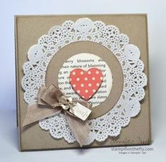 Hearts A Flutter framelit, Tea for Two DSP, Tiny Tags stamp set Club Valentine Paper Doily Crafts, Paper Doilies, Diy Paper, Love Cards, Valentine Day Cards, Creative Cards, Anniversary Cards, Greeting Cards Handmade, Scrapbook Cards