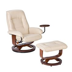 Southern Enterprises AMZCR2331PU Bonded Leather Recliner with Ottoman , Taupe