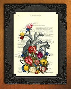 Anatomical Heart with Flowers Dictionary Art Print, Colorful Floral Human Anatomy Poster on Antique Book Page Wall Art, Home Decorations for Living Room. Each illustration is printed on a beautiful antique book page from a French magazine called La Petite Illustration from around 1910. Please keep in mind that you will not get the exact same page as shown in the image, but you will get a similar antique book page from the same magazine. Each print is unique. You definitely have something…