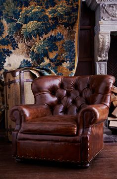 Ralph Lauren Home Writer's Chair - the iconic, tufted winged leather club chair.