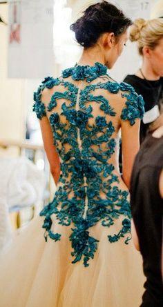 Marchesa Teal Lace Dress