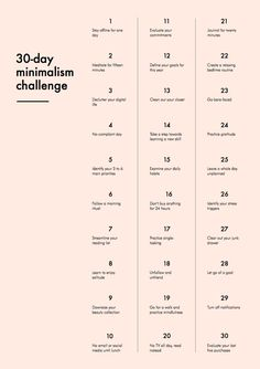 Some things that are useful to consider (although a few are obviously gender-specific). Simplifying & decluttering - both physical items & mental habits - allows more focus on what truly matters in making quality of life better. Read a bit more about 30-Day Minimalist Challenge here: http://into-mind.com/2015/01/01/30-day-minimalism-challenge/ #simplify #myt