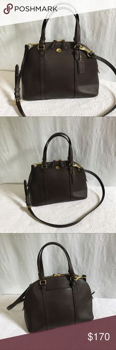 """Coach • Peyton Leather Cora Domed Satchel Excellent used condition. Like new! #H1369-F25671. Mahogany brown Satchel with gold tone hardware and tan interior. Exterior has 1 slip pocket. Duel zip closure. Interior has 3 pockets (1 zips). Handle drop is approximately 5.5"""". Longer strap has 5 settings and is approximately 20"""" long in the middle setting. Excellent used condition! This bag is """"like new"""" condition, no low ball offers will be accepted. Coach Bags Satchels"""