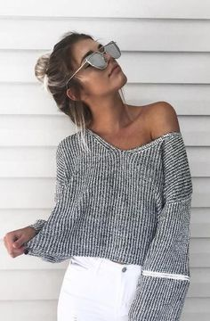 V neck jumper. white denim.