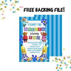 Bananas in Pyjamas Invitation - Bananas in Pyjamas Party Pajama Birthday Parties, Pajama Party, 3rd Birthday, Bananas And Pajamas, Banana In Pyjamas, Types Of Printer, Ideas Para Fiestas, Kid Names, Invitation Cards