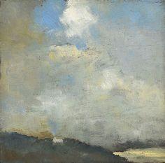 Tom Roberts (Australian, 1856-1931), Headland, sea and sky, c.1890s. Oil on wood panel, 26.6 x 26.6cm.