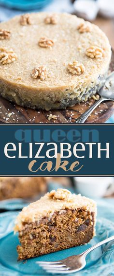 Queen Elizabeth Cake is a dense and buttery cake made rich thanks to the addition of dates and nuts and topped with a delicious brown sugar coconut frosting.