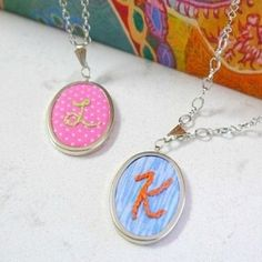 These embroidered initial pendants are easy to make and look fabulous! They are great DIY gifts!