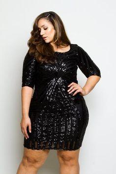 024fdd9dcbb25 Plus Size Sequin Bodycon Cocktail Dress Item  40913 Polyester spandex Plus  Size Cocktail Dresses