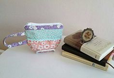 Teacup Tea Cup Zippered Pouch Wristlet Bag by SewTwistedSisters