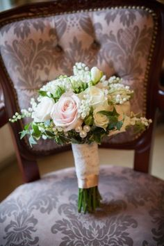 Rose and Lilly of the Valley Bouquet with Pearls