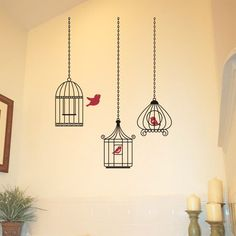 birdcage Birdcage Grouping One Gets Away adesivo de parede wallpaper papel de parede sitcker decal wall vynil Ideas Habitaciones, Wall Sticker Design, Shop Interiors, Vinyl Projects, Creative Home, Bird Cage, Vinyl Wall Decals, Home Gifts, New Baby Products