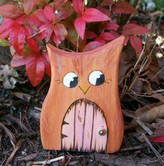 Wooden Owl Fairy Door
