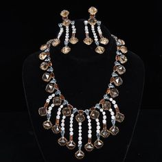 <b>Schreiner Costume Jewelry 2pc. Set; Runway Designer Bib Necklace & Clip Earrings</b> 17""