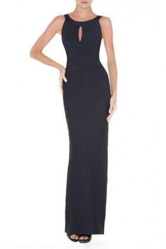 $220.00Embrace full-length luxury in this indulgently sleek bandage dress.  Round neck. Sleeveless. Body-con fit.Keyhole cutout at bust. Concealed center back zipper with hook-and-eye closure. Full-length silhouette.To maintain the beauty of your garment, please follow the care instructions on the attached label.Rayon, Nylon, Spandex.Imported.