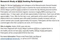 ( USA) Healthy adults and people with ME/CFS sought for Michael VanElzakker's research via Massachusetts ME/CFS & FM Association e-newsletter Massachusetts General Hospital, Boston Massachusetts, Cfs Symptoms, Magnetic Resonance Imaging, Research Studies, Chronic Fatigue Syndrome, Study, Healthy, People