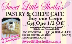 Sweet Little Sheila's in Grosse Pointe!  Buy one Crepe and get one for 1/2 off!