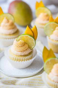 Mango Margarita Cupcakes: the flavors in this cupcake were off the charts! Just like sipping on my favorite cocktail, with lots of sweet mango, fresh lime, and a kick of tequila. food desserts cupcakes