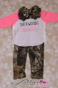 BACKWOODS BARBIE OUTFIT Baseball tee 3/4 by LollipopGirlBowtique