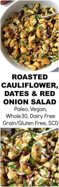 Roasted Cauliflower, Date, Red Onion & Parsley Salad | Every Last Bite