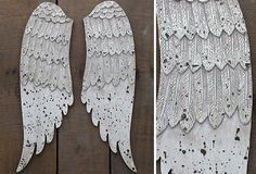 Exquisite Wooden Angel Wings - From Antiquefarmhouse.com - http://www.antiquefarmhouse.com/current-sale-events/accent34/wood-angel-wings.html