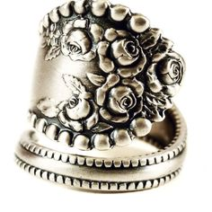 Silver Rose Ring Floral Ring Sterling Silver Spoon by Spoonier