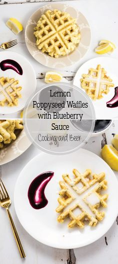 Start your day with these Lemon Poppy Seed Waffles with Blueberry Sauce! They will be a crowd pleaser at any breakfast or brunch gathering!: