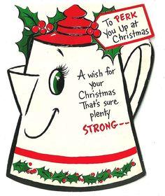 Vintage 1950 Coffee Pot Christmas Greeting Card