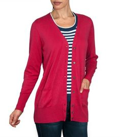 Red Pink Classic Long V Neck Cardigan   Ladies   Silk & Cotton