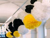 Yello, white and black pompoms. love this color combination