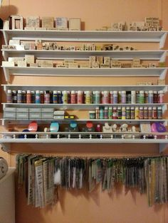 Organizing your supplies opens space for more things and makes it easier to find what your looking for. Sharing a section of my office with you to inspire you if you javen't done something like this already. Spent about $40.00 on the wood and already had white paint at home and there you have it. Great day!