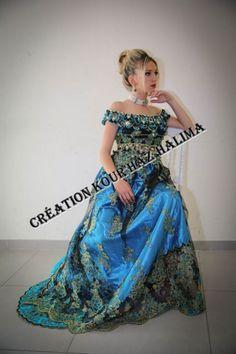 (Réf : 0012) - Blousa Oranaise en dentelle bleue turquoise et noire (Vendu)