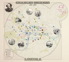 The places mentioned in the works of Dickens in relation to London today. Developed by Density Design