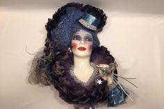 Clay Art Ceramic Face Wall Mask Sue Rodine Blue Purple Hat with Hand Celebration #SueRodine #ClayArtofSanFrancisco