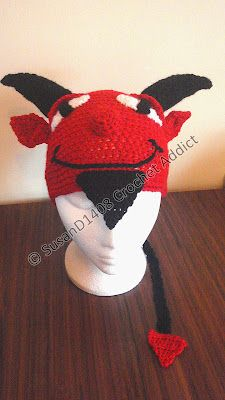Halloween Devil Hat  Both crochet pattern & finished hat made to order available.