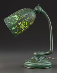 Art Glass:Tiffany, RARE TIFFANY STUDIOS GLASS AND BRONZE GRAPEVINE PATTERN ADJUSTABLE DESK LAMP. Circa 1915, Stamped: TIFFANY STUDIO | JV
