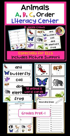 """This 20 page literacy center has three sets of word/picture cards. The product focuses on learning animal names, connecting the names with their pictures, and putting animal cards in alphabetical order. This can be used as a matching game, """"read the room"""", or to teach alphabetical order as a whole group, too. #alphabet, #alphabetical order, #primary, #initial consonants, #kindergarten, #first grade, #read the room, #Jackie Crews"""