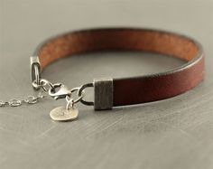 Mens bracelet leather personalized by SylviaArtGallery