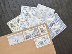 Birds.. in Blue .. Vintage UNused Postage Stamps .. by VerdeStudio, $6.95