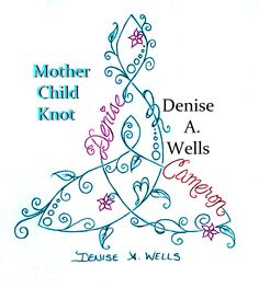 Mother Child Knot Tattoo Design by Denise A. Wells including vines, leaves, small flower blooms, heart, and names incorporated. Message me on Facebook to get a price quote.