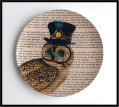 Owl Plate with upcycled dictionary art