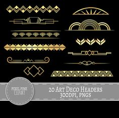 Gold Gatsby Clipart – Style Gold and Black Art Deco Dividers – 20 PNGs Included. Listing Includes: – 20 PNGs, High Resolution One . 20 Gatsby Style Headers, all… Motif Art Deco, Art Deco Pattern, Art Deco Design, Bijoux Art Deco, Art Deco Jewelry, Art Nouveau, Invitaciones Art Deco, Black Art, Black Gold